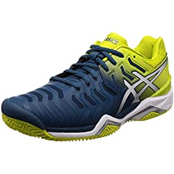 Asics Gel-Resolution 7 Clay, Zapatillas de Tenis para Hombre, Azul (Ink Blue/Sulphur Spring/White 4589), 46 EU