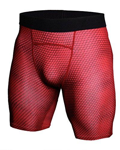 Uomo Sportivo Compression Tights Manica Manica Corta E Fitness Pantaloni Corta Jogging Fitness Rosso