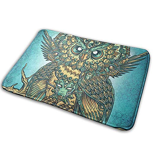 ghkfgkfgk Psychedelic Mandala Owl Anti-Slip Machine-Washable Doormat Bathroom Kitchen Rug Front Door Mats 36(L) X 24(W) Inch