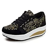 QZBAOSHU Damen abnehmen Walkingschuhe Fitness Keile Sneakers 2-Schwarz 39 EU/Etikett 40