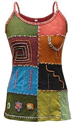 Multicolor Estilo Hippy Festival Blusa Para Dama/Camiseta,Algodón Pur
