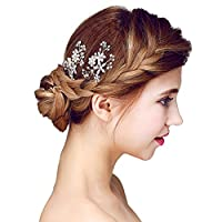 YAZILIND Bridal Hair Pins Alloy Flowers White Cubic Zorconia Wedding Hair Accessories Women and Girls (Pack of 2)