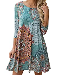 f8f551b1cf3487 Blusenkleider Strandkleider Damen Kleid Beach Party Dress Langarm  Partykleid Elegant Boho Maxi Abend Kleid Vintage Cocktailkleid…
