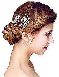 YAZILIND elegante tocado de pelo de novia Pins aleacion flores blanco cubic zirconia pelo de la boda accesorios mujeres y ninas (2 piezas)
