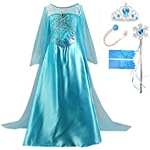 GenialES Disfraz Vestido Guantes Peluca Varitas Mágicas Tiara Diadema de Princesa Largo Lindo Regalo Cumpleaños Disfraz de Carnaval Fiesta Cosplay Boda Halloween para Niñas a Partir de 2 a 8 Años