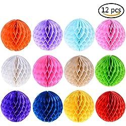 12unidades de pompones de papel de seda. Colores variados.