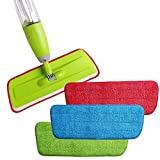 #5: Sevia's Set of 3pcs Reusable Spray Mop Pads Practical Cleaning Mop Head Pad Washable Mop Head Cloth Flat Spray Mops Pads Household Floor Dust Cleaning Tools