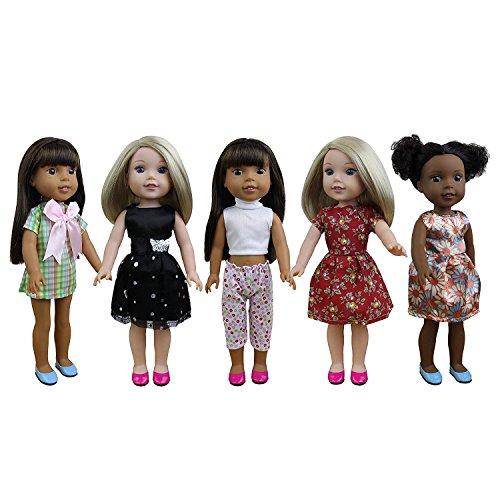 ZITA ELEMENT 5er Puppen Kleidung für 35cm-38cm Babypuppe und 14 Zoll American Girl Mädchen Kleider Bekleidung