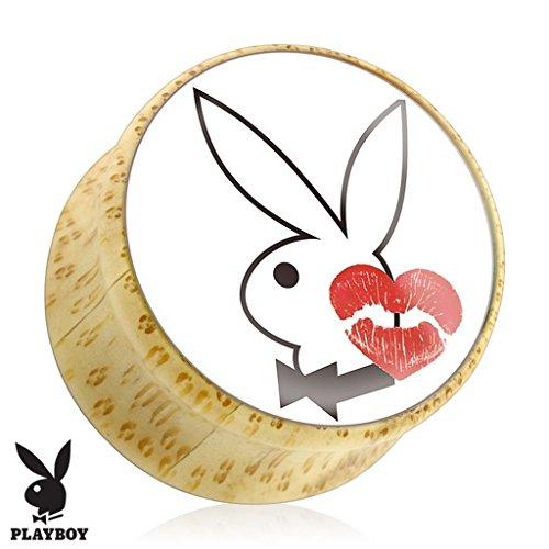 Piercing plug Playboy en bois Taille 12 mm