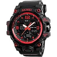 NICERIO Reloj electrónico Multifuncional Impermeable Relojes de Pulsera Digitales Relojes Deportivos al Aire Libre (Rojo)