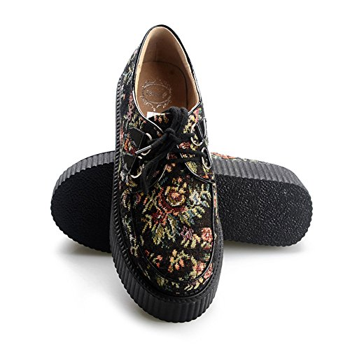 RoseG Femmes Broderie Lacets Plate Forme Gothique Punk Creepers Chaussures Noir