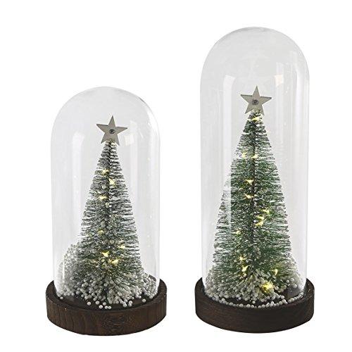Casablanca LED Baum in Glasglosche braun Base 2er Set B 0 x H 27 x L 0 cm mit Kunstschnee Timer 6/18h für 3 x AA Batt. - Casablanca Drei Licht