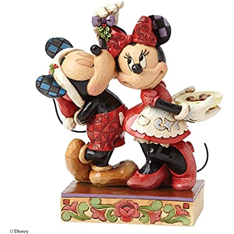 Disney Tradition 4039039 Resina Mickey e Minnie Bacio Sotto il Vischio, Disegno di Jim Shore, 16.5 cm