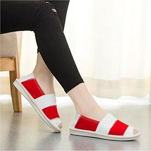 Frauen handgemachte beiläufige Schuhe Art- und Weiseweinlese-Segeltuch-flache Schuhe eine Vielzahl der chinesischen Art vorhanden Red