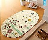 ZiXuan Teppich Handgewebter Teppich Oval Beige Gewebt (Farbe : 1#, größe : 60x90cm)