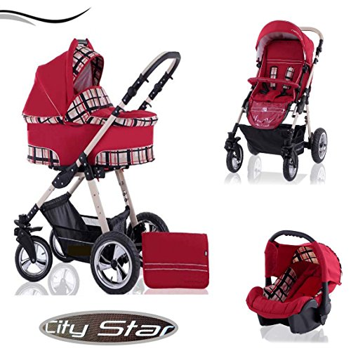 "16 teiliges Qualitäts-Kinderwagenset 3 in 1""CITY STAR"" in 41 Farben: Kinderwagen + Buggy + Autokindersitz + Schwenkräder - Mega-Ausstattung - all inclusive Paket in Farbe CS-25 (ROT-KARO)"