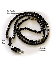 BUDDHAFIGUREN/Billy Held – Mala (rosario bracelet|elastic Obsidiana 108 Buda meditación bead