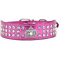 [Gesponsert]Hundehalsband Halsbänder aus Bling PU Leder,mit Strass Krone und Diamante Stein,Blau Lila Pink Rot Wählbar, XS S für kleine Hunde wie Chihuahua Spitz, Rosa XS