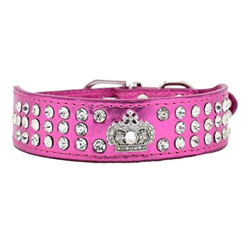Hundehalsband Halsbänder aus Bling PU Leder,mit Strass Krone und Diamante Stein,Blau Lila Pink Rot Wählbar, XS S für kleine Hunde wie Chihuahua Spitz, Rosa S