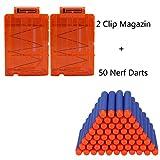 2 Stücke Soft Bullet Magazin für 6 Darts und 50er Nerf Darts für Nerf N-Strike Elite