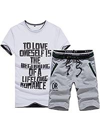Hombre Tracksuit 2 Camiseta Y Pantalones Cortos Deportivas Chándal Para Hombre Conjunto De Ropa Impreso Blanco 3XL uU61NvyG