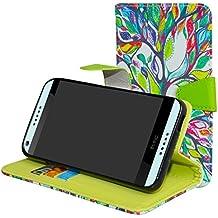 HTC Desire 650 Funda,Mama Mouth PU Cuero Billetera Cartera Monedero Con Soporte Funda Caso Case para HTC Desire 650 Smartphone,Love Tree