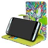 HTC Desire 650 Coque,Mama Mouth PU Cuir Portefeuille debout Fonction Housse Coque Étui Couverture pour HTC Desire 650 Smartphone,Love Tree