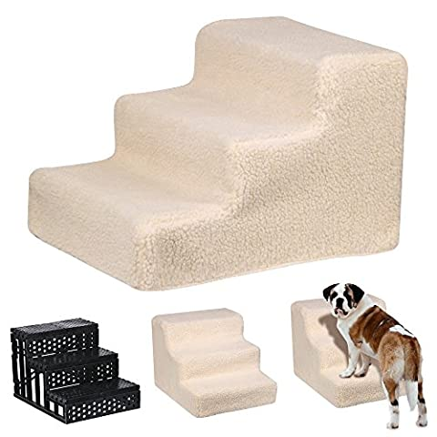 tinkertonk Pet Stairs 3 Steps Stairs Dog Cat Steps Pet Ramp Ladder Portable Travel (Beige)