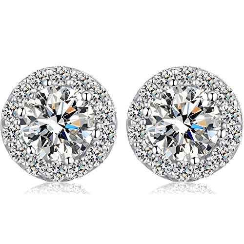 Jewel Encrusted Simulated diamond Sterling Silver Stud Earrings Ladies Micro Pave Halo Disc Earrings (10 mm) With Free Gift Box SBcaIDiS2T