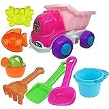 HALO NATION® Beach Toys Deluxe Playset For Kids 8 Pcs - Big Dump Truck - Sand Shovel Set Beach Set - Beach Truck With Sand Play Tools For Kids