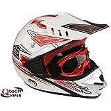 Casco protector y gafas para niños - Motocross / todoterreno / ATV - Rojo - XL (53-54 cm)