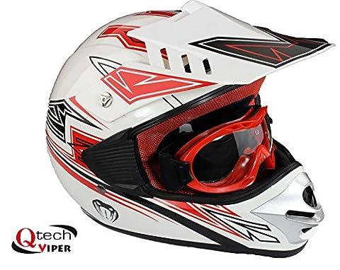 Casque et lunettes protectrices de moto-cross - enfant - Rouge - XL (53-54 cm)