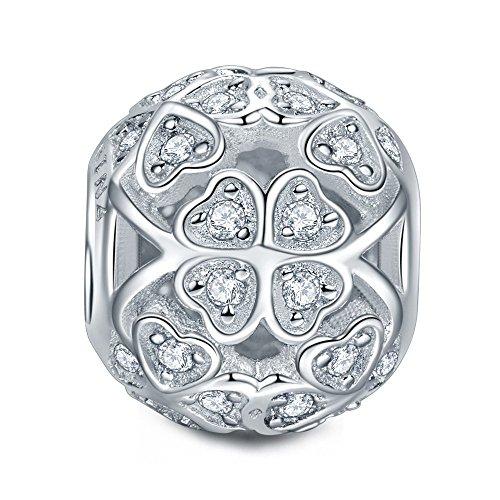 Ninaqueen argento sterling 925 cuore charms pandora compatibili per la festa della mamma donne ragazza cubic zirconia charms gioielli bigiotteria regali anniversario compleanno per donne moglie