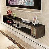 Regal Schwimmend Wand Bücherregal TV-Kabinett Fernsehtisch Set Top Box Regal TV-Konsole Veranstalter Regal zum DVD Kabelbox (Farbe : SCHWARZ, größe : 80 * 20 * 20cm)