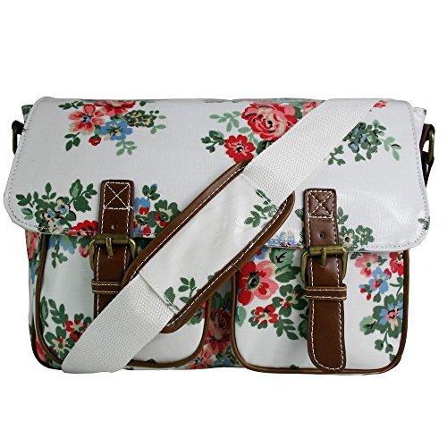 Miss Lulu Schultasche/Umhängetasche aus Wachstuch oder Canvas, Blumen-, Pünktchenmusterdesign, Schultergurt Weiß