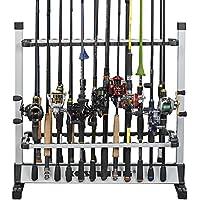 KastKing rack 'em up cañas de pescar Holder - 2015 ICAST mejor de Premio Shw Ganador - Pesca aluminio portable Rod Bastidores [Mejorado 2016 Modelo con Embalaje Nuevo] - 24 barra de cremallera para todos los tipos de cañas de pescar y Combo / 12 barra de cremallera de agua dulce Varillas (24 Rods Rack SilverBlack)