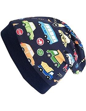 Wollhuhn Öko Warme Jungen/Mädchen Autos dunkelblau/bunt Beanie-Mütze mit Fleecefutter (aus Öko-Stoffen, Bio),...