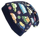 Wollhuhn Öko Jungen/Mädchen Warme Autos dunkelblau/bunt Beanie-Mütze mit Fleecefutter (aus Öko-Stoffen, Bio), 20180835, Größe M: KU 51/53 (ca 3-5 Jahre)