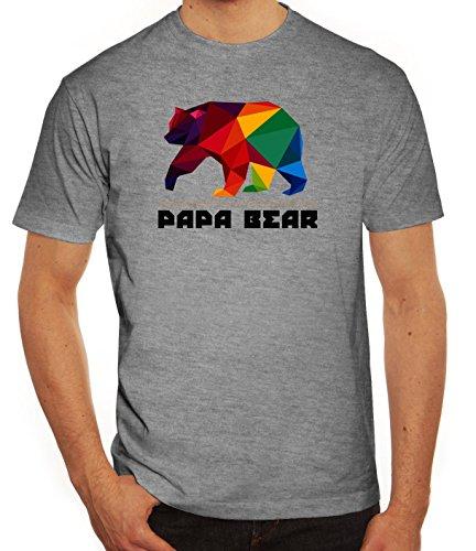 Geschenkidee Herren T-Shirt mit Polygon Papa Bear Motiv von ShirtStreet Graumeliert