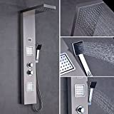 OBEEONR Matt Thermostat Duschpaneel Duschset Edelstahl Duschsystem mit Handbrause und Regendusche Massagedüsen mit LED Display 125cm hohe