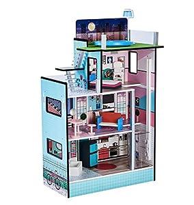 Teamson Kids- Barcelona Dolls House Casa de muñecas, Color Azul (TD-13111D)