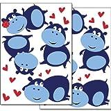 WANDKINGS Nilpferde mit Herzchen Wandsticker Set, 26 Aufkleber, 2 DIN A4 Bögen, Gesamtfläche, 60 x 20 cm