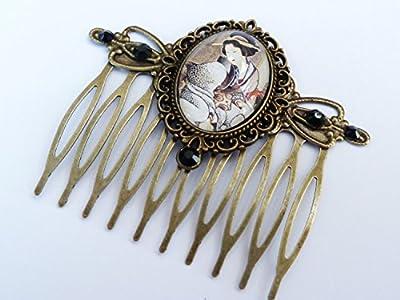 Peigne à cheveux avec geisha, motif Japon, Orient, peigne à cheveux vintage
