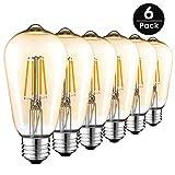 Edison Vintage Glühbirne, 4W E27 ST64 Edison LED Lampe Retro Filament Glühbirne Warmweiß Dekoratives Leuchtmittel Ideal für Haus Bars Cafés- 6 Stück