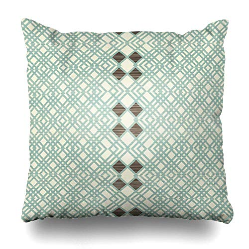Zierkissenbezüge, Throw Pillow Covers, Harlequin Beige Argyle Abstract Retro Vintage Blue Geometry Classic Diagonal Diamond Geometric Design Home Decor Pillowcase Square Size 18