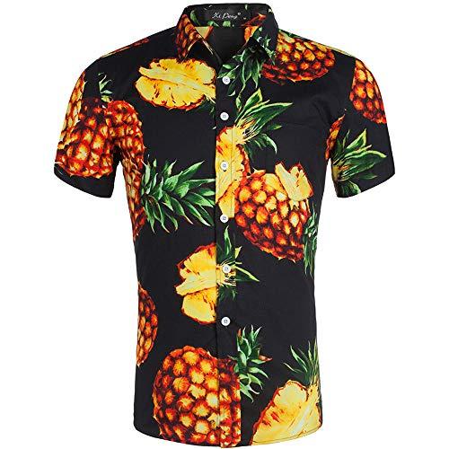 AIDEAONE Herren Ananas Hawaii Kurzarm Ananas-Hemd Knopf Hemd Urlaub Freizeithemd