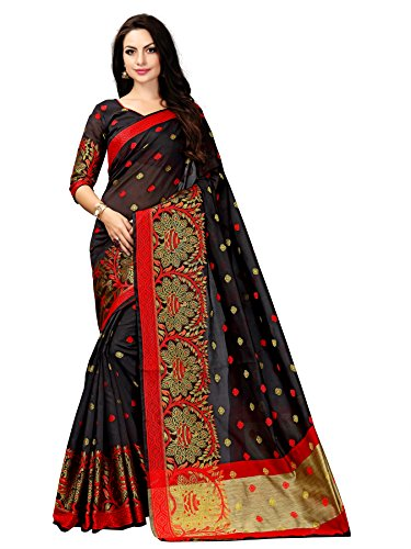 Tagline Women\'s Cotton Silk Saree (TAG_GOLDMORE) (BLACK)