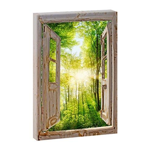 Fensterblick - Sonnenstrahlen im Wald | Panoramabild im XXL Format | Poster | Wandbild | Fotografie | Trendiger Kunstdruck auf Leinwand | Verschiedene Formate (Farbig, 100 cm x 65 cm | Hochformat)