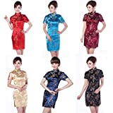 8a9450e87197 DiiZii Cinese Tradizionale Donne Retro Floreale Stampato Maniche corte  Cheongsam Broccato Qipao Vestito da sera