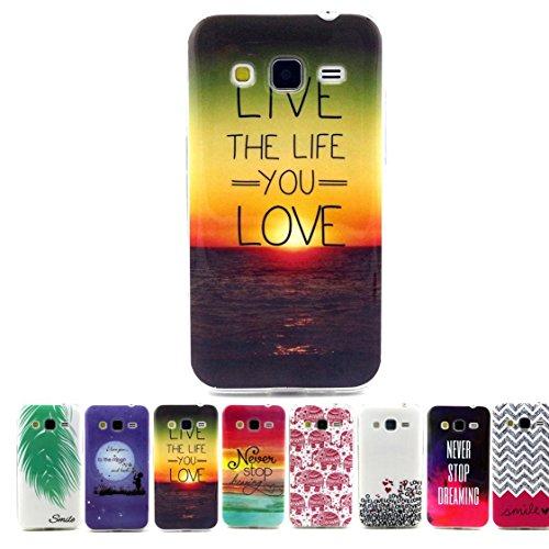 Coque Samsung Galaxy Core Prime G360, AYASHO® Ultra mince Slim Soft TPU Silicone housse Etui Protective Bumper Cas Cover Pour Samsung Galaxy Core Prime SM-G360  Core Prime VE Value Edition SM-G361 (aimer la vie)